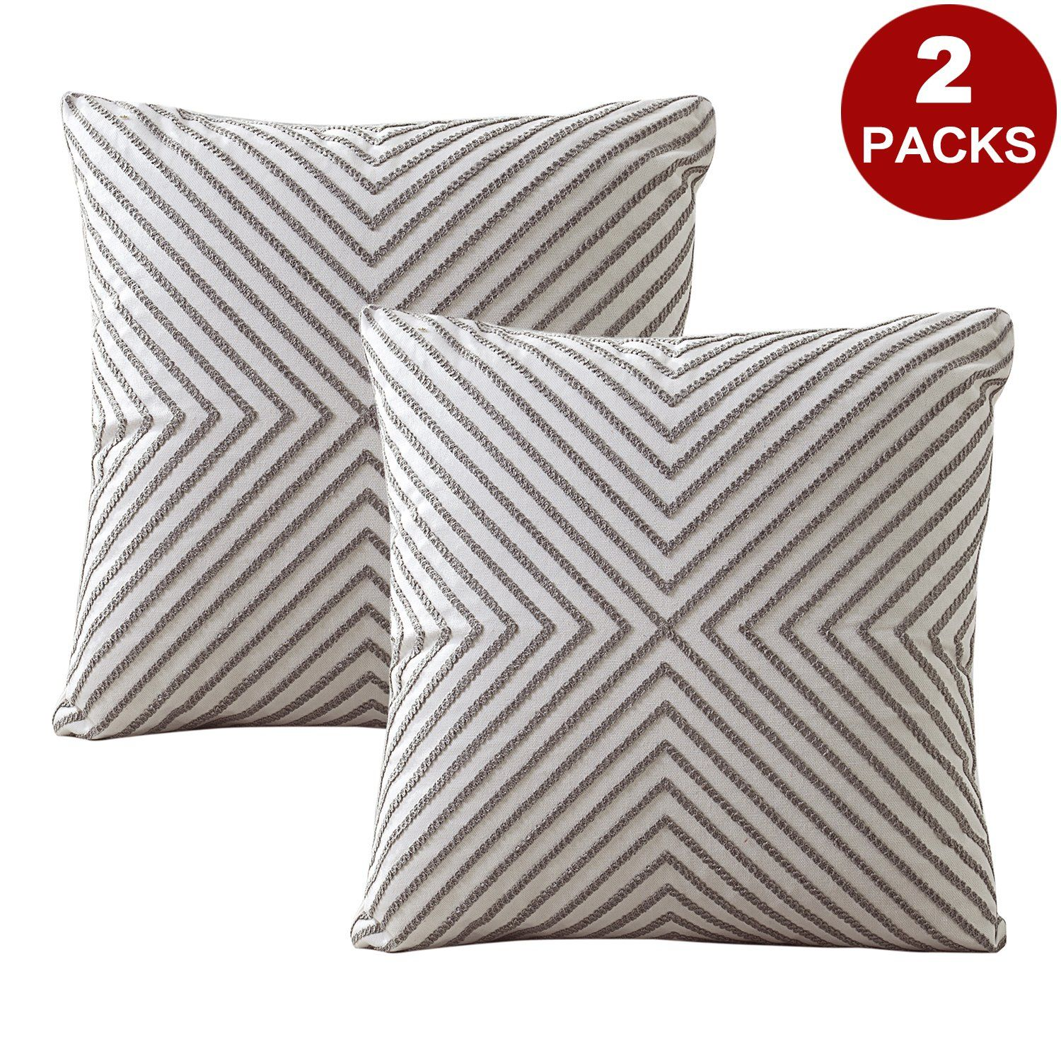 Lifonder Embroidered Cushion Covers Pillow Cases Home Decor Accent Gray Line Stripe Pattern Cotton Canvas Throw Pi In 2020 Embroidered Cushions Pillow Covers Pillows