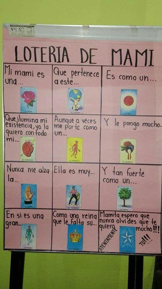 Loteria De Mama Regalos Para Mama Cumpleanos Manualidades 10 De Mayo Regalos Para Padres