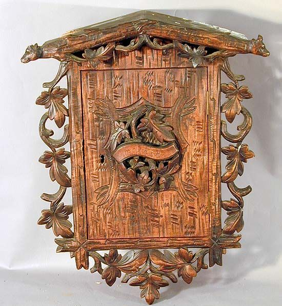Nice Antique Black Forest Carved Wood Wall Cabinet Adirondack