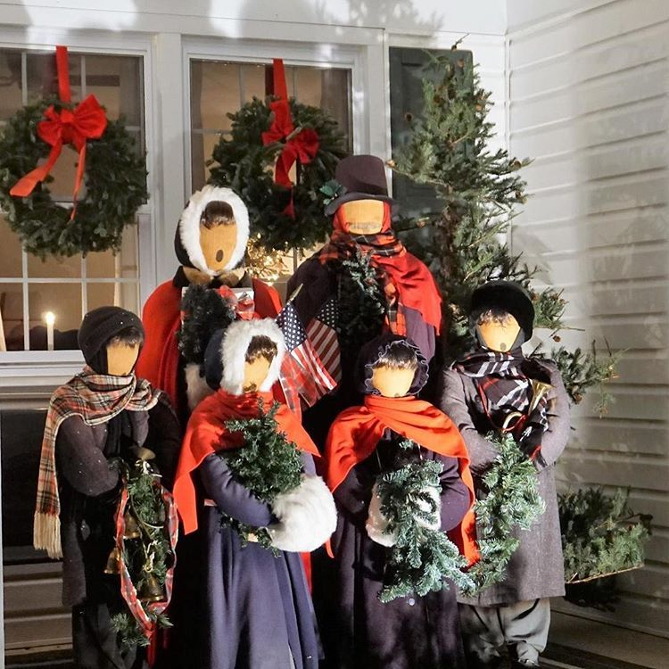 Fa La La La La These Carolers Have Been Singing Christmas Songs On Our Front Porch For Over 25 Years Car Christmas Song Halloween Wreath Christmas Carol