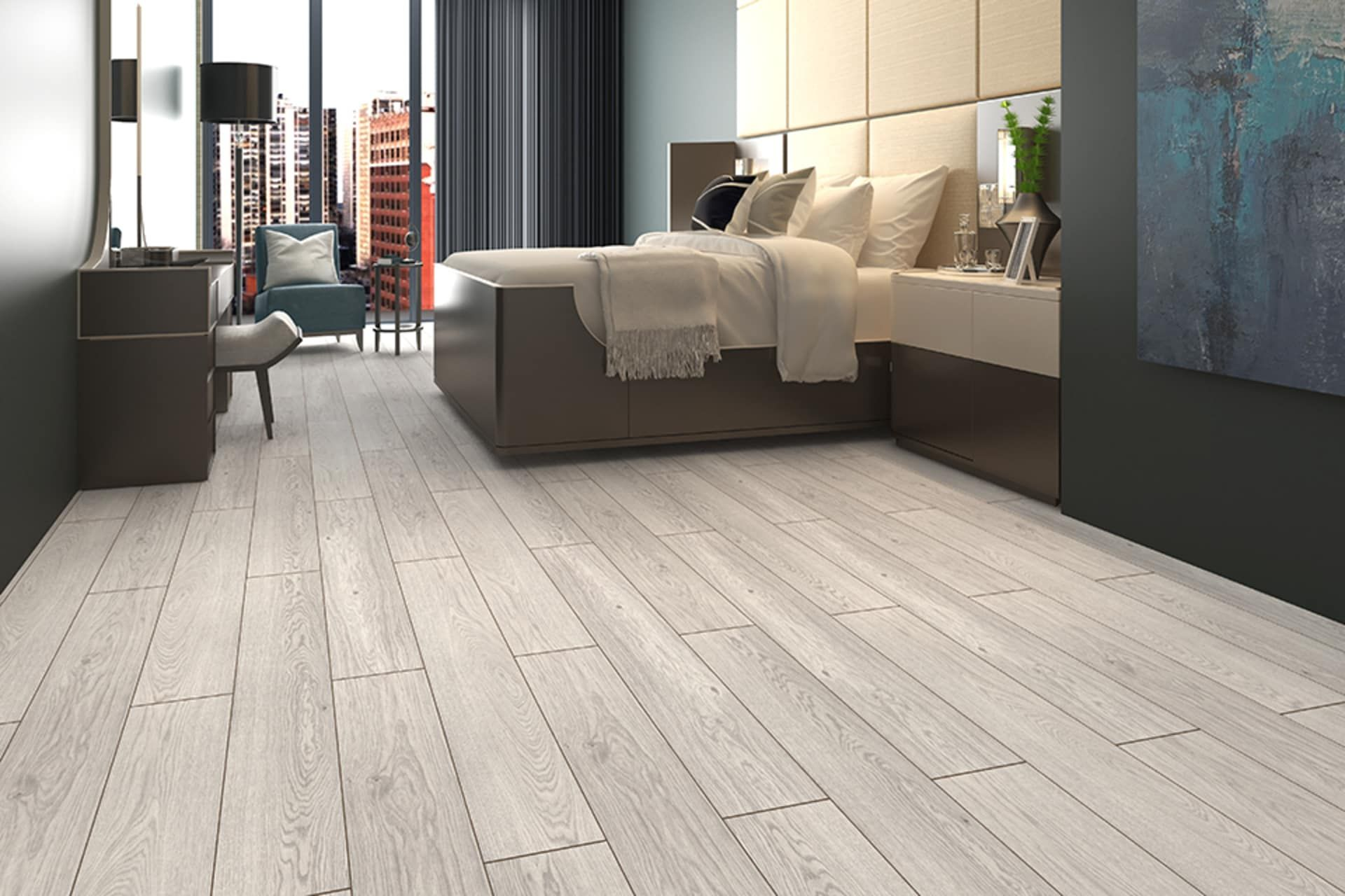 White Laminate Flooring Bedroom in 2020 Oak laminate