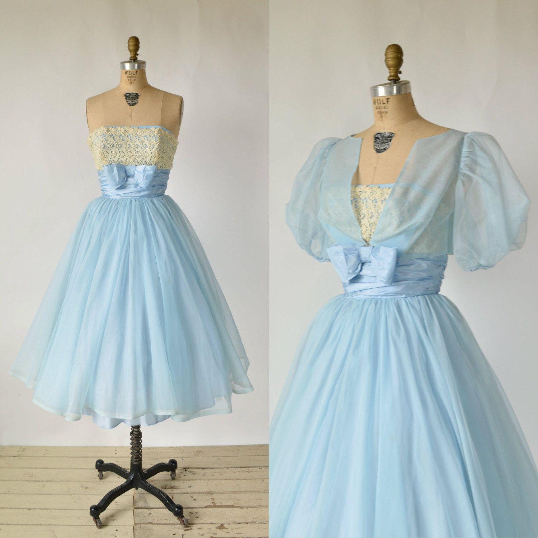 1950s Blue Party Dress --- Vintage Chiffon Wedding Dress by ...