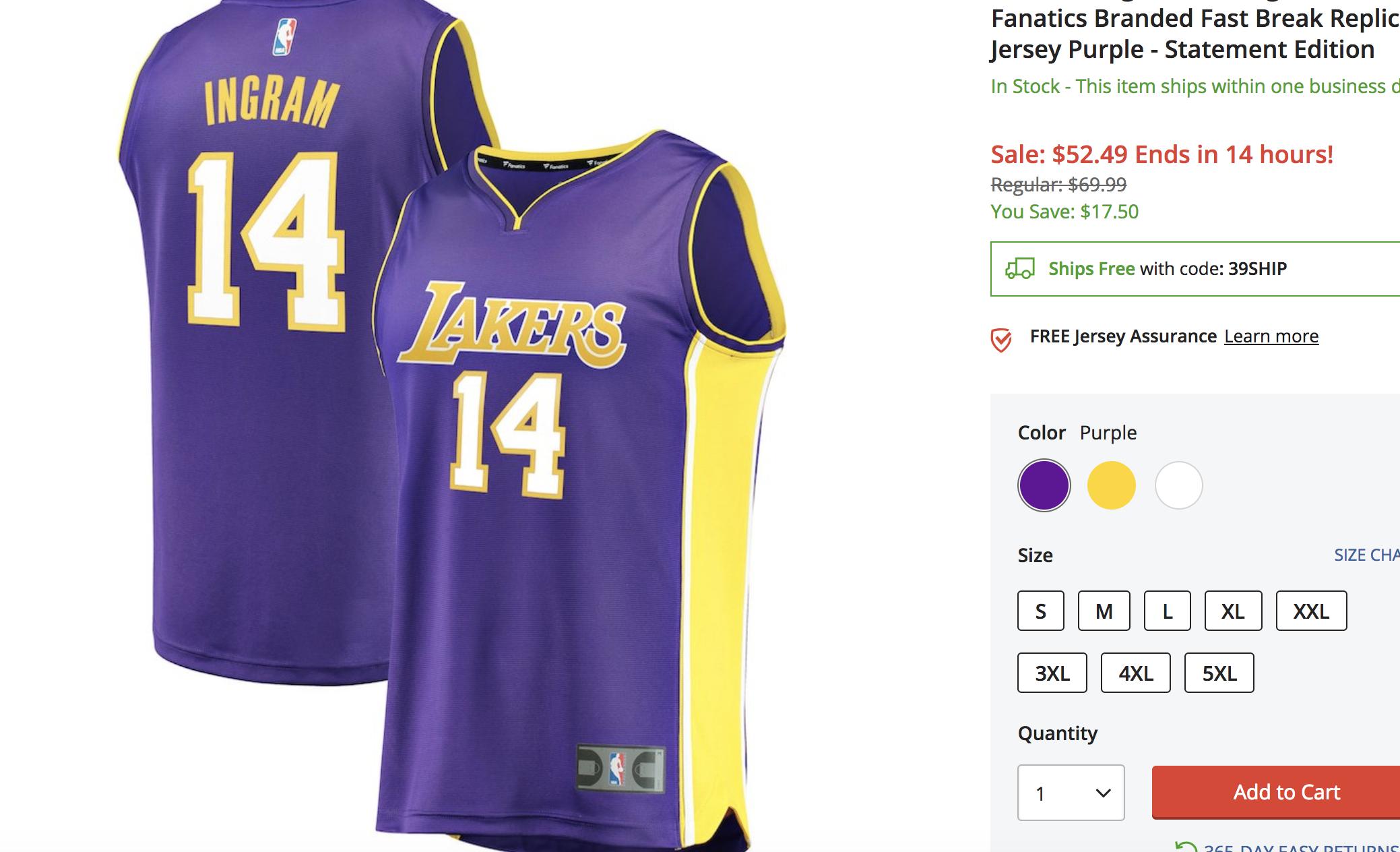brand new 52b43 a6c67 Brandon Ingram Los Angeles Lakers Fanatics Branded Fast ...