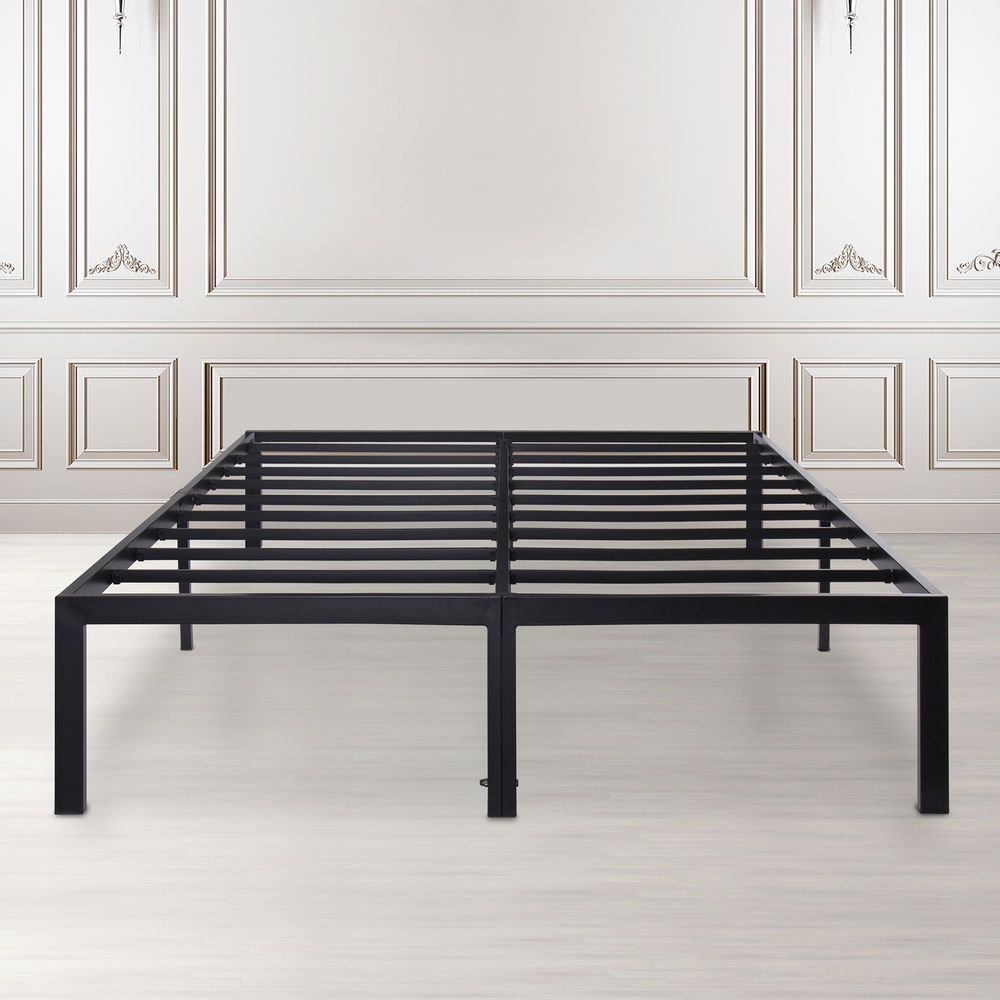 Metal Bed Frame with Non-Slip Feature,Queen/Black(Non-Squeaky ...