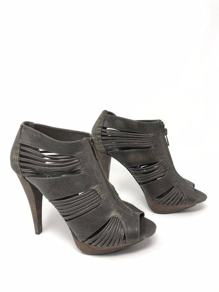 d1f02ee812d Aldo Womens Brown Black Distressed Peep Toe Heel Ankle Boots Bootie EU 39 US  8.5
