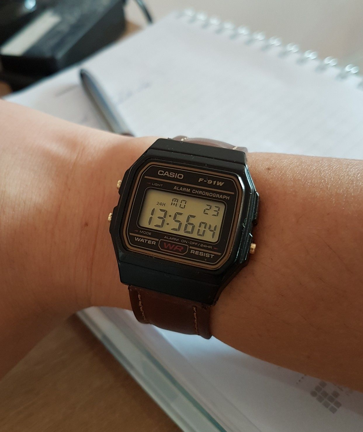 ebe28e740a08 Casio F91-W with brown leather strap