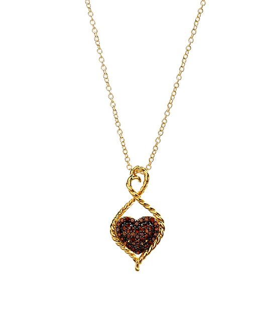 0.25-tw Red Diamond & Gold Heart Pendant Necklace