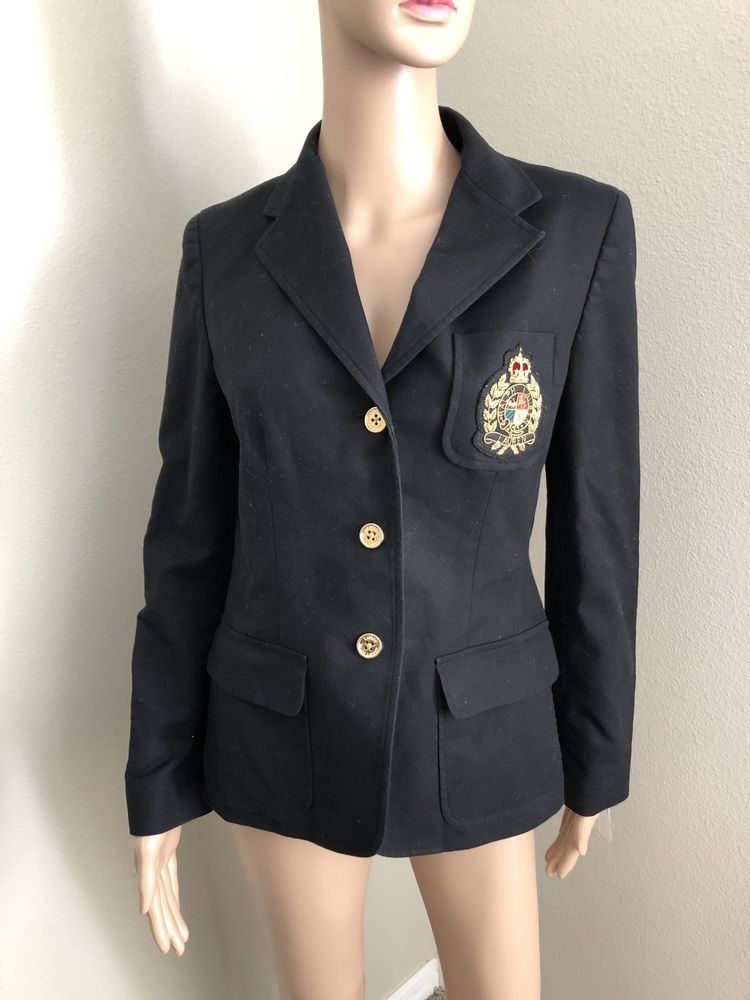 Vtg Lauren Ralph Lauren Womens Black Crown Crested Blazer Coat Sz 8