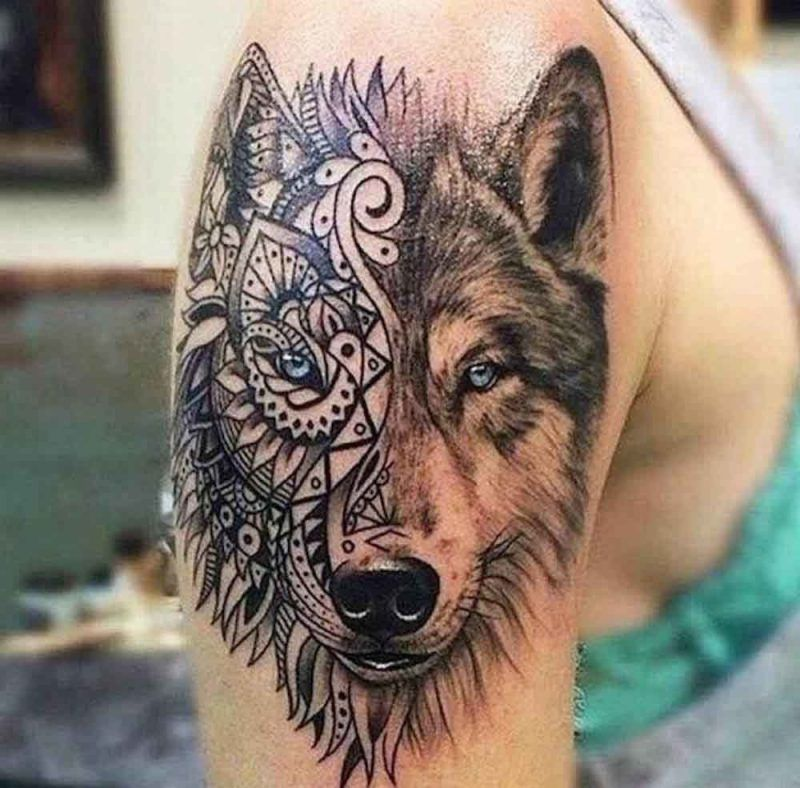 tattoo wolf 60 inspirierende ideen f r m nner und frauen tattoos pinterest tattoo ideen. Black Bedroom Furniture Sets. Home Design Ideas