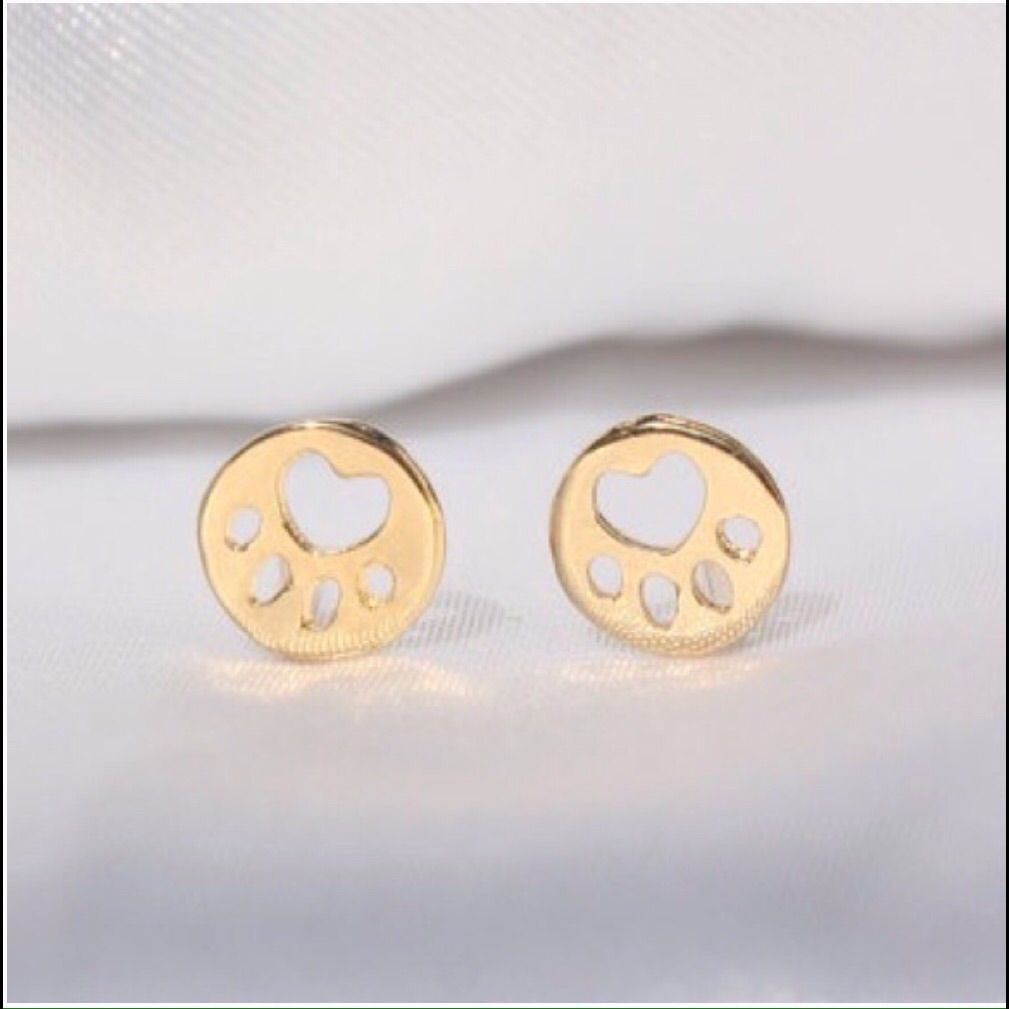 stud bk products dog nily lily paw earrings