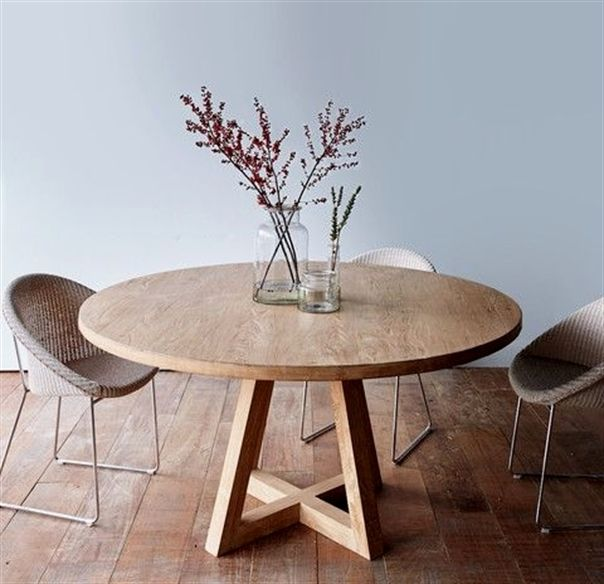 adeca5e816be farmhouse dining table With Leaf. Cross Leg Round Dining Table Whitewashed  Teak 160…More