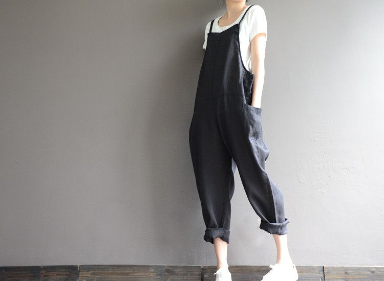 various styles finest selection order Jumpsuits & Dungarees – Loose linen black overalls – a ...