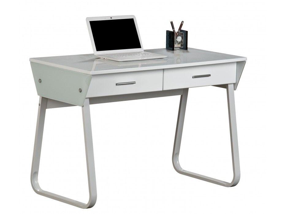 Bureau informatique arpent tiroirs mdf coloris blanc verre