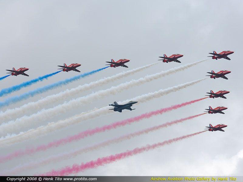 Red Arrows & BAF F-16 (Sanicole Airshow 2008)