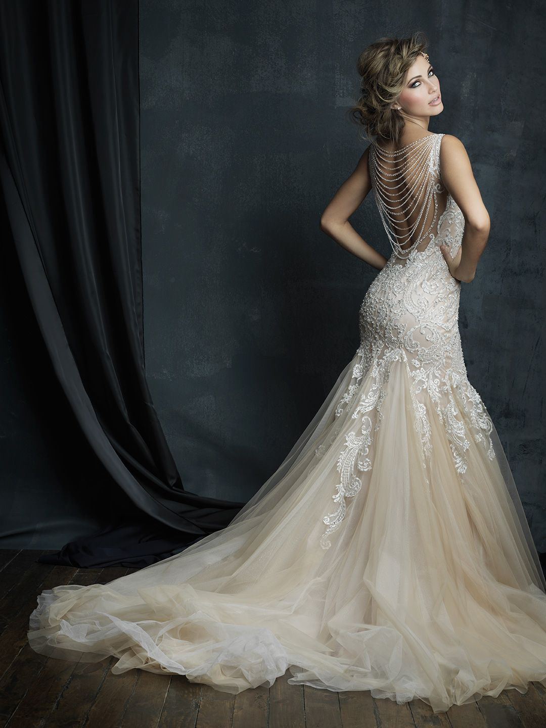 Fitted Wedding Dress From Fantasy Bridal Fitted Mermaid Lace Low Back Beaded Dangles Allure Allure Wedding Dresses Wedding Dress Couture Wedding Dresses
