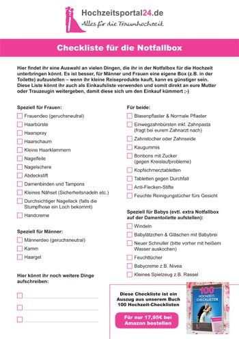 Checkliste fr die Notfallbox zur Hochzeit  eure Gste