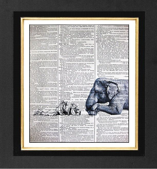 "Elephant Print ""The Story Teller"" ORIGINAL ARTWORK Mixed Media art print on 8x10 Vintage Dictionary page, Dictionary art, Dictionary print. $10.00, via Etsy."
