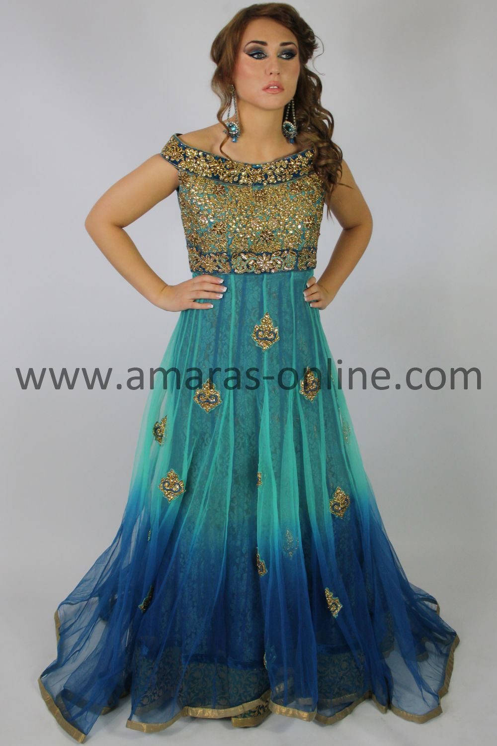 """Amara's """"Eminent Two-Tone Trail Dress with Long Skirt""""[A6658] £495.00 ~ $758"""