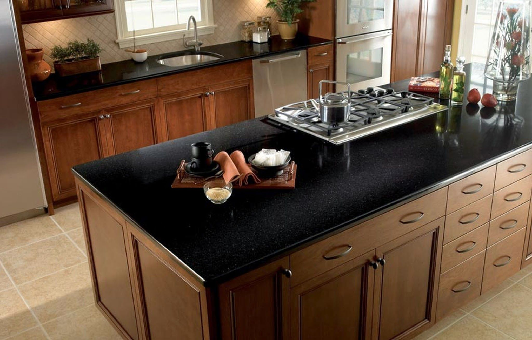 Kitchen Appealing Black Granite Countertop On Wood Kitchen Island