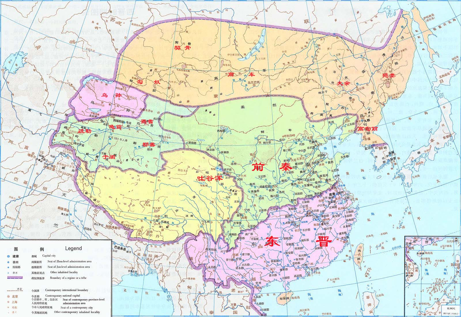 中國東晉時期全圖   Map, Diagram, World