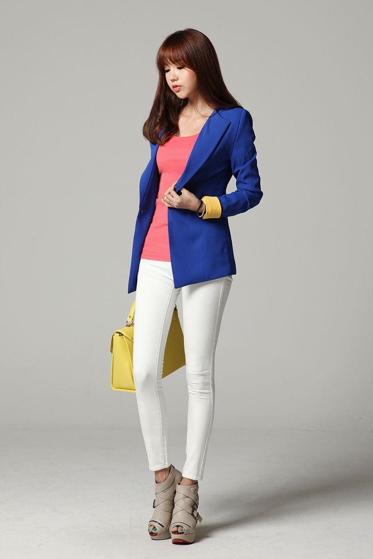 Camisa Mujer Lleva Una RosadaChaqueta AzulPantalones La ybfv7Yg6