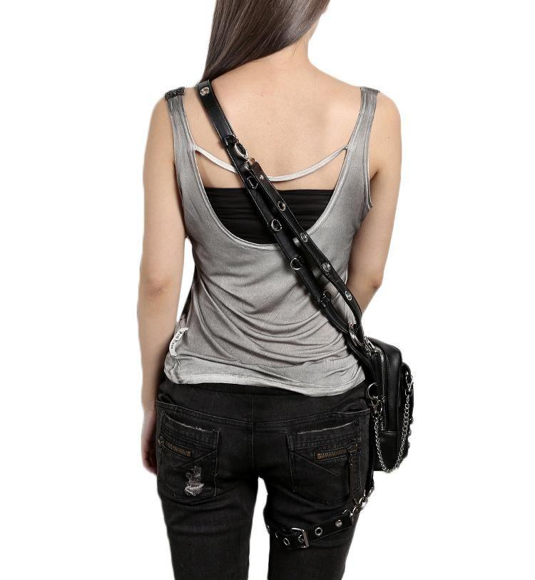 Gothic rivet black steampunk shoulder holster with images