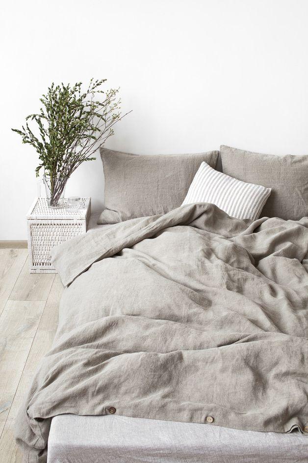 Deckenbezug aus Leinen, stone-washed, elegant und zeitlos \/ simple