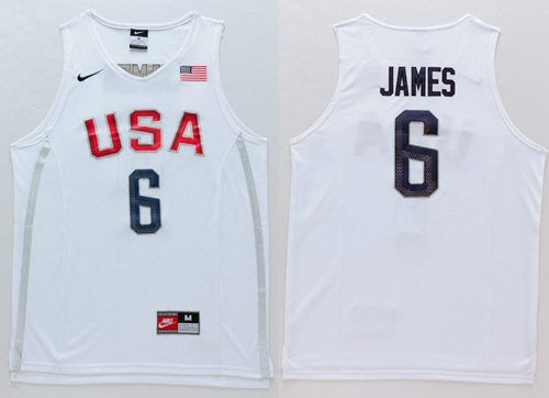 d4f7f909950d Nike Team USA  6 LeBron James White 2016 Dream Team Stitched NBA Jersey