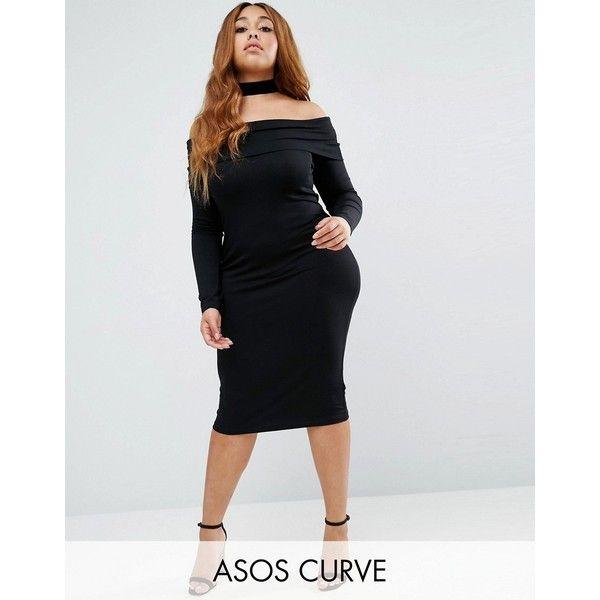 Asos Curve Long Sleeve Midi Bardot Bodycon Dress 33 Liked On