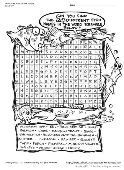 Snapshot Image Of Find A Fish Word Search Puzzle Word Search