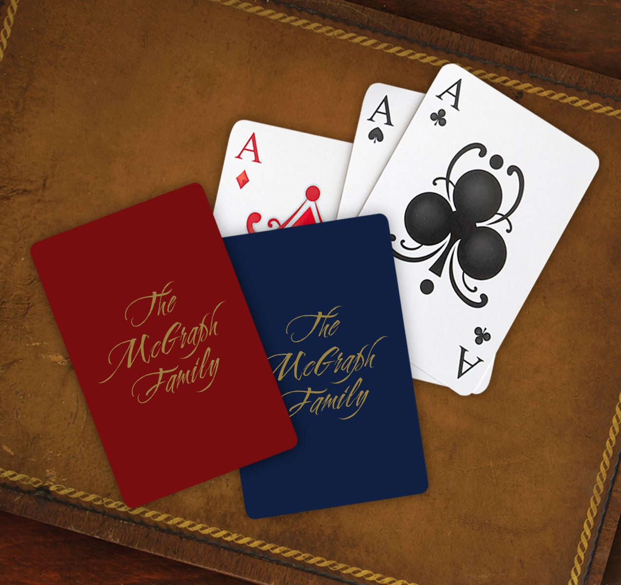 Set of 2 Personalized Playing Cards, Name or Monogram Game