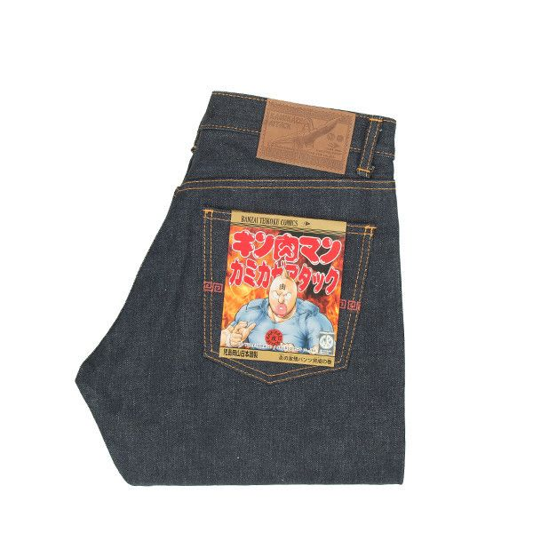 Description Limited Edition Kamikaze Attack collaboration with infamous Manga Kinnikuman ! 16oz Unsanforized Selvedge Denim with some great details from the manga. Originally created as a parody of  Ultraman, Kinnikuman was a clumsy goof of a superhero whose services were only called upon to battle monsters if no other superheroes were around.  Mid-Rise Slim Straight fit Indigo Warp / Grey Serubitchi Weft 16oz Unsanforized Selvedge denim Contrast orange stitching Ramen Silkscreen back ...