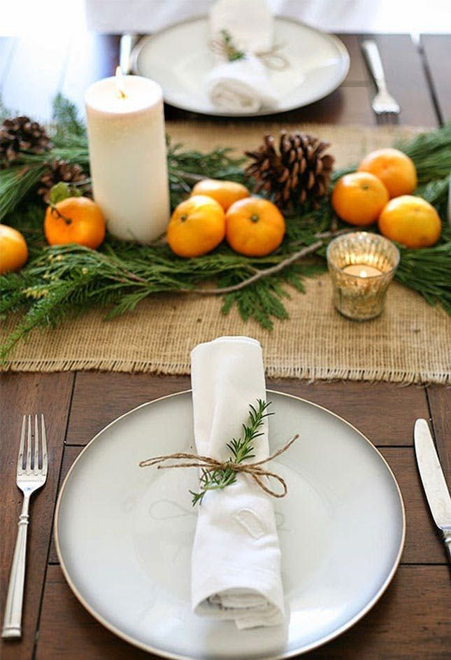 Thanksgiving Table Mandarin Oranges on greenery Simple and pretty
