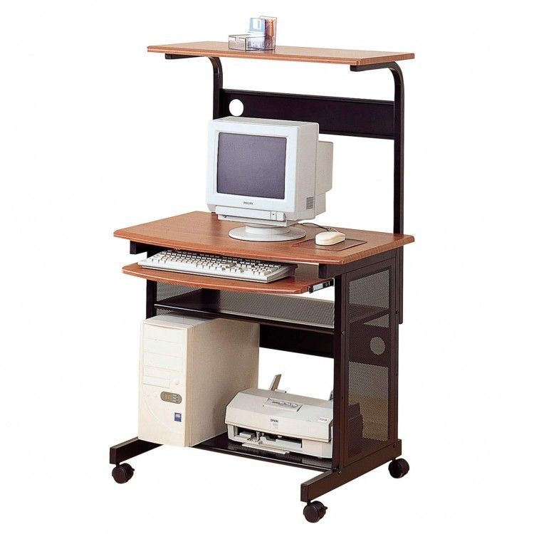 Small Rolling Computer Desk W Keyboard Tray Printer Shelf And Monitor Pc Stand Contemporary Onlineping Danann