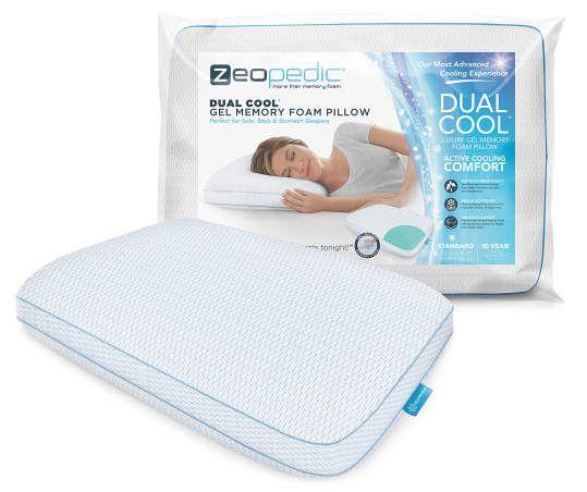 Zeopedic Dual Cool Gel Memory Foam Pillow In 2020 Memory
