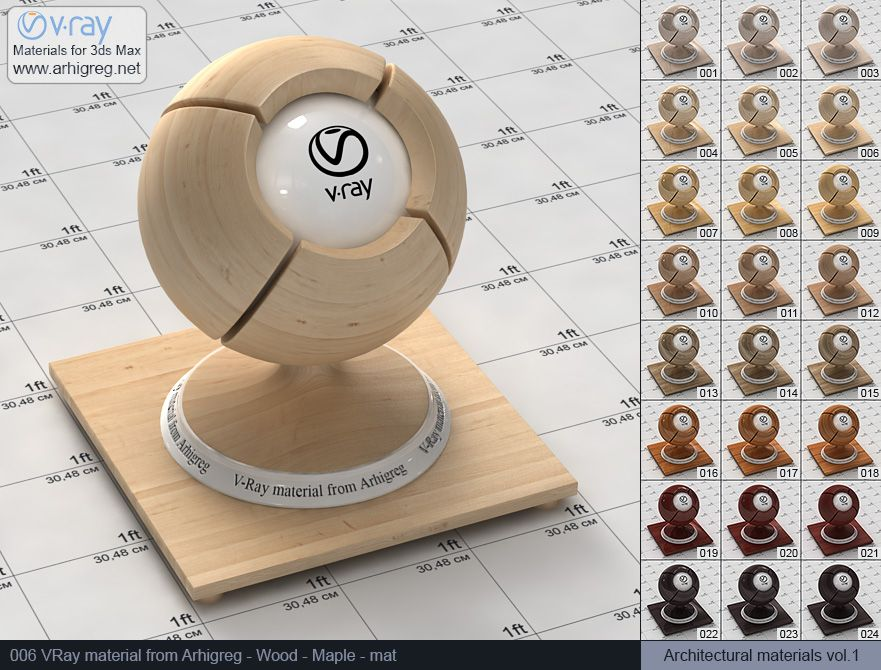vray materials, wood material, vray Wood, High gloss