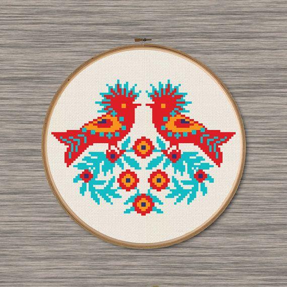 Polish Wycinanki Birds PDF Cross Stitch Pattern | Punto de cruz ...