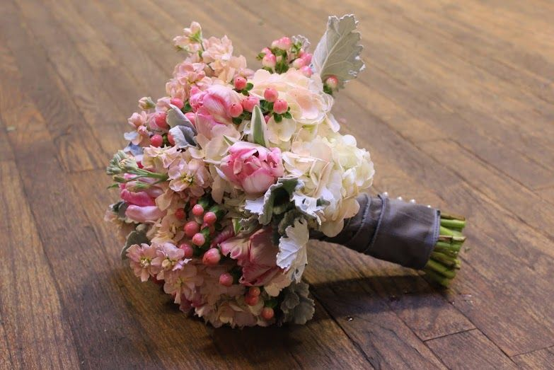 A Blush Spring Bouquet With Hydrangea Stock Tulips Hypercum Berries And Lambs Ear Designed By Eastern Floral Wedding Flowers Event Flowers Eastern Floral