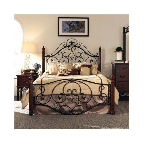 Queen Size Bed Frame Headboard Footboard Iron Scrollwork Victorian