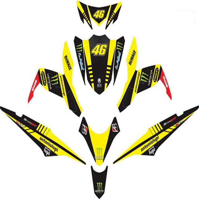 Custom Decal Vinyl Striping Motor Full Body Motor Yamaha New Soul GT Thema Yellow techno ME Berkualitas DIGITIVE