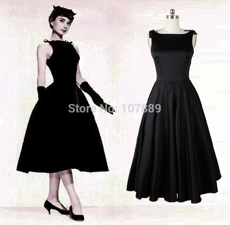 68317b8add78 Audrey Hepburn vintage style 50s dresses little black Mid Calf Satin Sexy  elegant Ankle Length Prom Dresses Free shipping CY751-in Prom Dresses from  Apparel ...