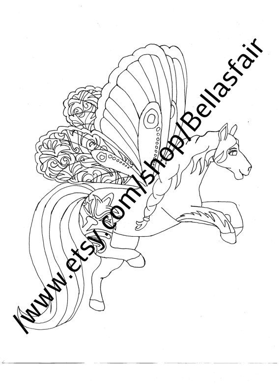 Hand Drawn Mythical Horse Coloring Page Fantasy Winged Fox Pages