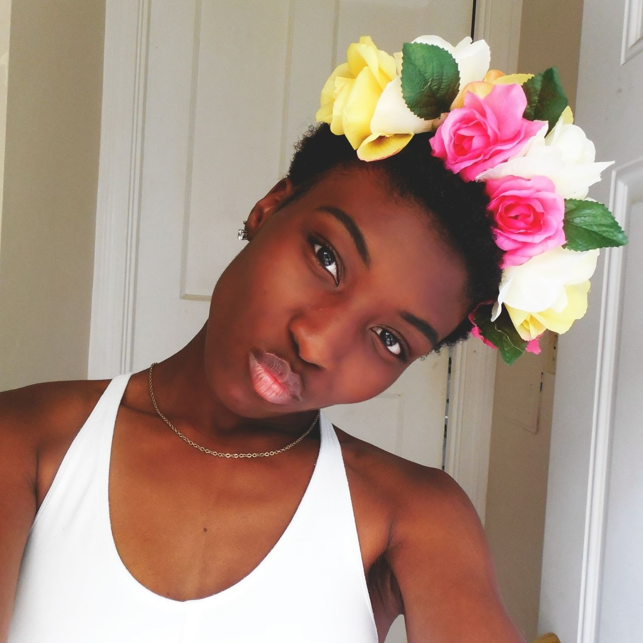 Woman black afro natural hair flower crown beautiful woman of color woman black afro natural hair flower crown beautiful woman of color izmirmasajfo Image collections