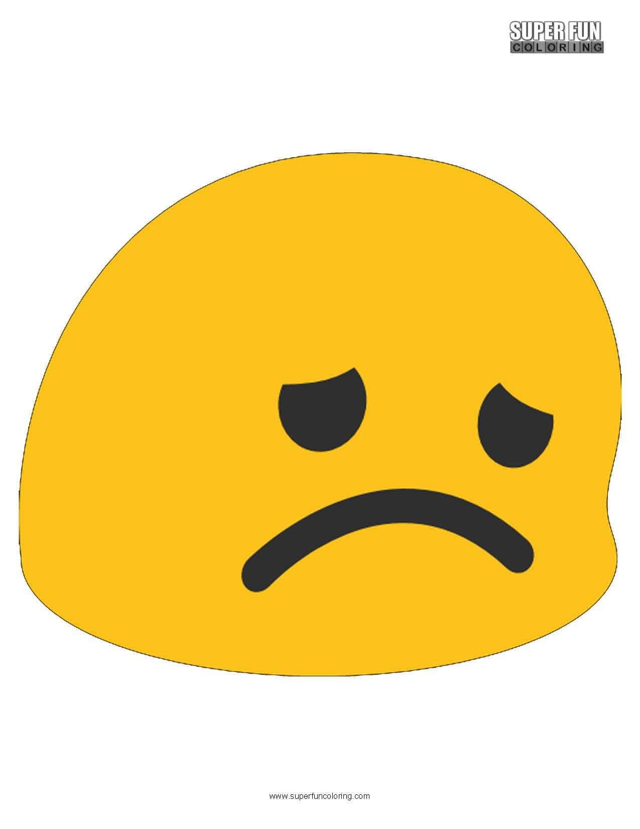 Disappointed Emoji Coloring Page