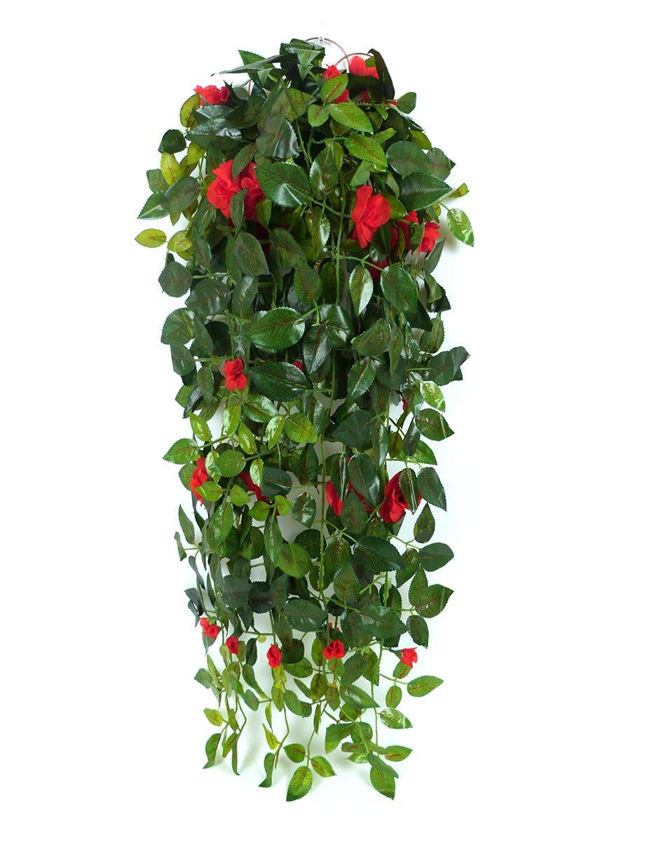 Jzhy Hanging Artificial Plants With Hanging Basket Silk Flower Rose
