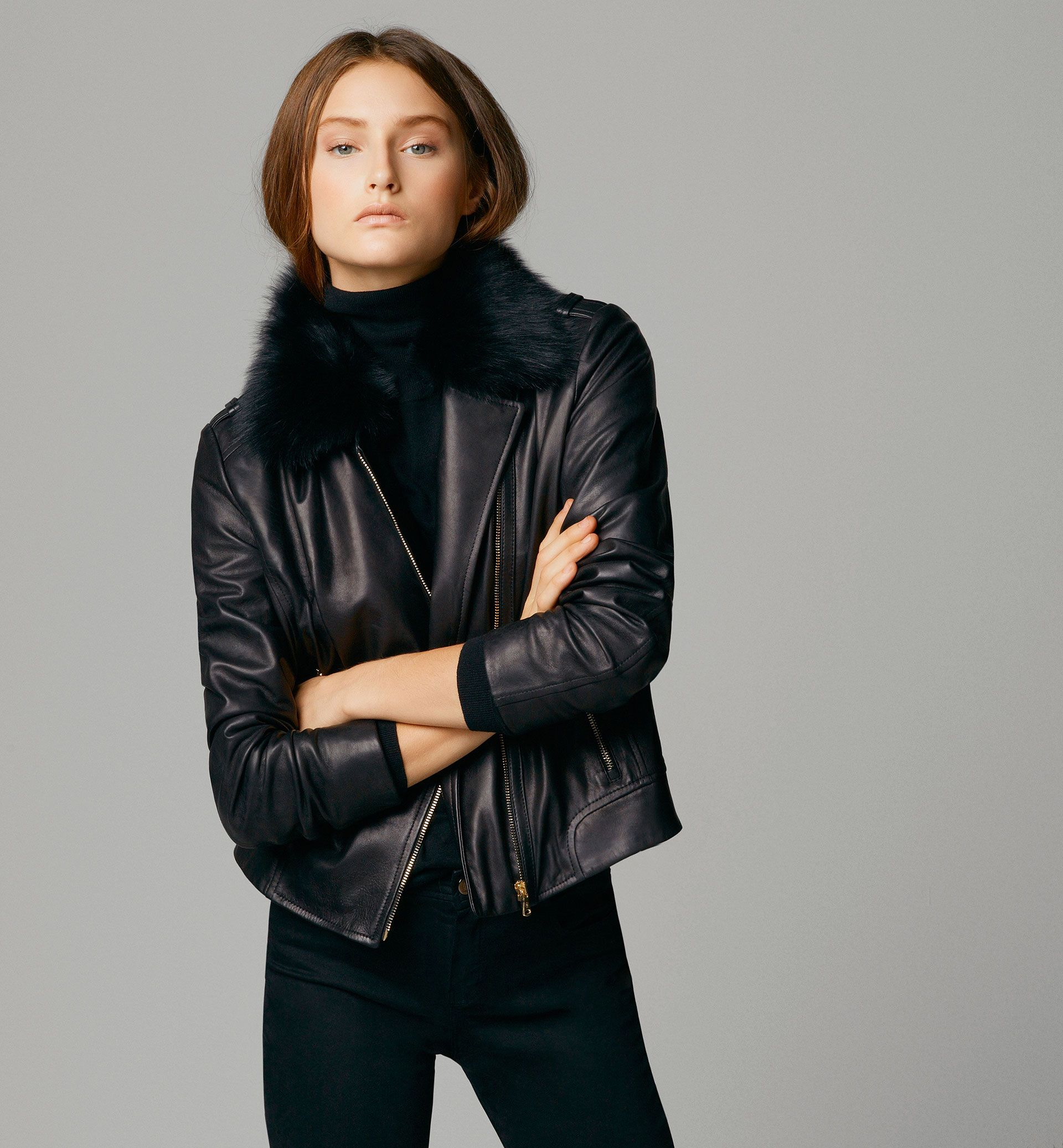 Black Leather Jacket With Fur Lined Collar Leather Jacket Leather Jacket Style Leather Jackets Women [ 2074 x 1920 Pixel ]