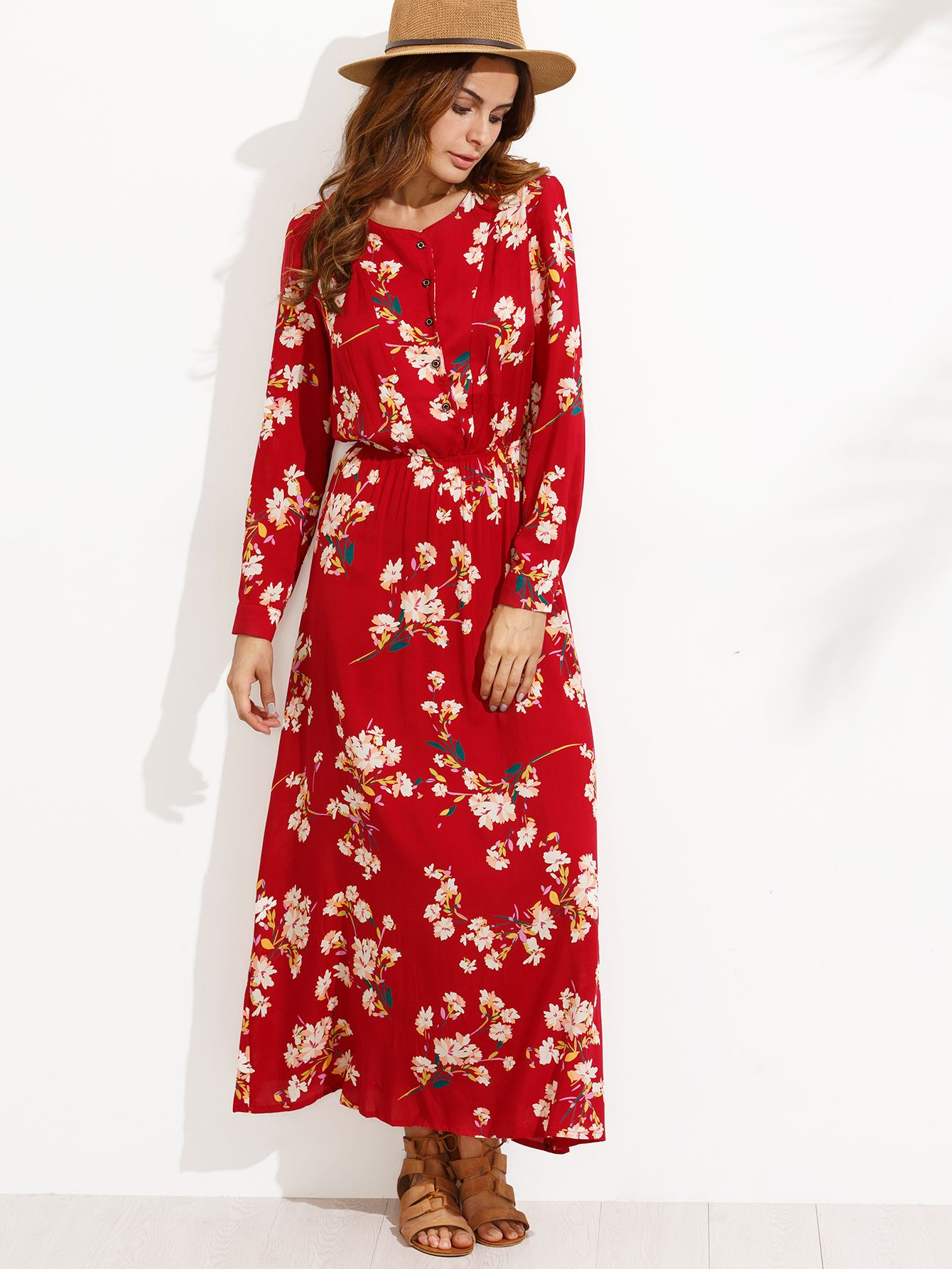 5a81283f210 Red Floral Print Buttons Front Shirt Dress -SheIn(Sheinside ...