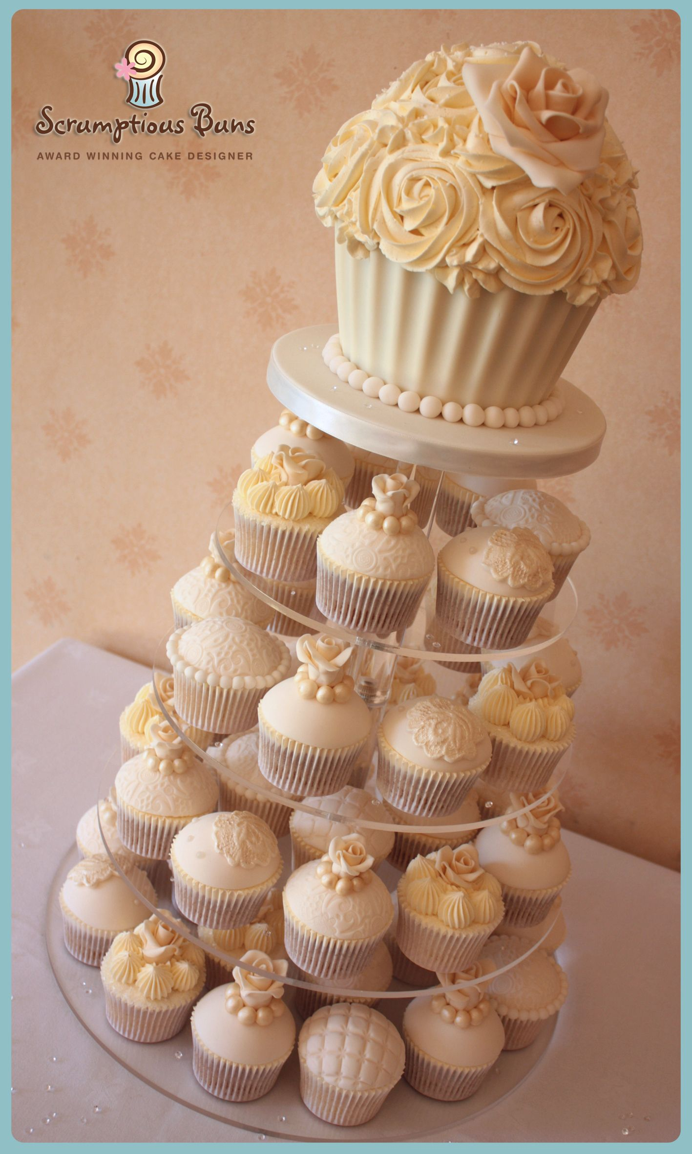 Vintage Ivory Lace Amp Pearl Wedding Cupcake Tower With