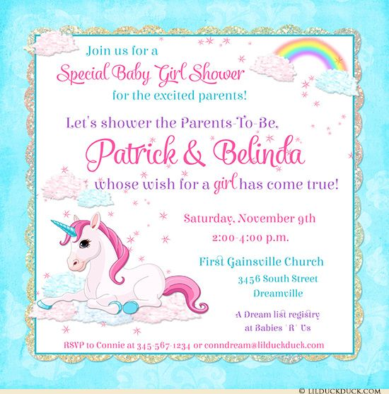Unicorn Baby Shower Invitation - Dreamy Rainbows, Magical Clouds