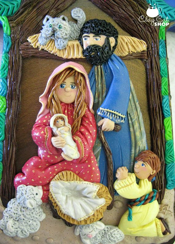 Nativity in a Wood Cross   Polymer clay 1st Christmas   by ClayCatShop™